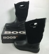 BOGS Womens Prairie Rain Winter Suede Boots Size 10 Black Sherpa Lined