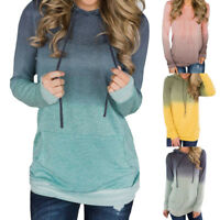 Autumn Women Pocket Long Sleeve Hoodies Sweatshirt Pullover Shirt Tops Blouse