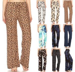 S-XL Women's Lounge Wear Pants Wide Leg Soft Stretch PJ Pajama Sleep Solid Print