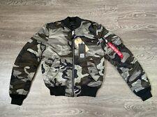 Alpha Industries MA-1 Slim Fit Bomber Jacket Mens M Reversible Tonal Black Camo