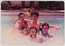 Vintage 80s PHOTO Group Young Guys Girls Laughing In Swimming Pool