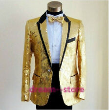 Hot Men Bling Sequins Tuxedo SUIT BowTie Pants Gangnam Style Jacket wedding Coat