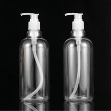 4PCS 500ml Transparent Refillable Pump Bottles Dispenser Liquid Makeup Bottles