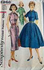 "Vintage 1950' Simplicity Shirt Dress Sewing Pattern Factory Folds Bust 33"" Uncut"