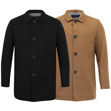 Mens Wool Blend Jacket Tokyo Laundry Trench Coat Collared Button Lined Winter