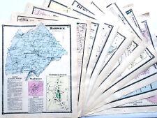 ORIGINAL MAPS. TEN 1870 MASSACHUSETTS ANTIQUE COLORED TOWN COUNTY FW BEERS ATLAS