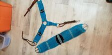 Handmade turquoise Mohair Breast Collar And Cinch set