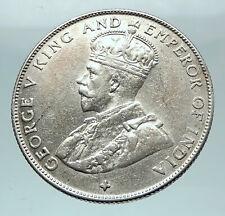 1920 STRAITS SETTLEMENTS UK King George V Genuine SILVER 50 CENTS Coin i81584