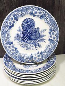 """8 Queens Thanksgiving Blue Turkey Dinner Plates Myott Factory 10"""""""
