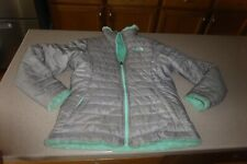 North Face Jacket Girls Teal Mossbud Gray Reversible Coat Fleece L 14-16 Youth