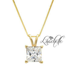 "2.0 ct  Princess Cut Solitaire 14K Yellow Gold Pendant Necklace +16"" Chain"