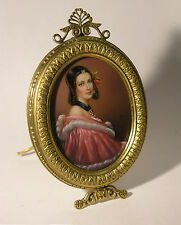 Vintage Miniature on Celluloid of Renaissance Lady in Ornate Brass Easel Frame