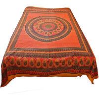 Tagesdecke Bettüberwurf  Rajasthan Classic Baumwolle Indien Dekotuch Orange 12