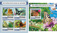 Butterflies Insects Fauna Guinea MNH stamp set 2 sheets