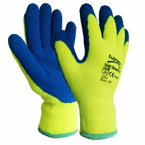 New Hi Vis / Viz Builders Winter Thermal Latex Work Gloves Gardening Safety Grip