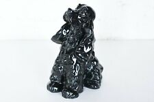 Kay Finch Black Cocker Spaniel With White Swirls Rare California Pottery 8""