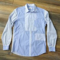 "Diesel 38"" Small Light Blue Long Sleeved Casual Shirt Mens Contrast Stripe Mens"