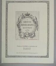 Graves Rosechatel Bordeaux Wine PRINT AD - 1928