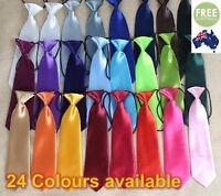 Baby Boy Formal Wedding Solid Self Colour Elastic Tie School Necktie Kids Child