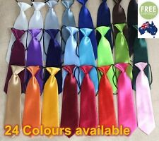 Baby Boy Formal Wedding Solid Self Colour Elastic Tie School Necktie Kids Child