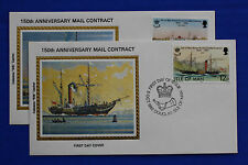 """Isle of Man (219-220) 1982 Steam Packet Co. Mail Contract Colorano """"Silk"""" FDCs"""