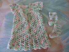 Handmade CROCHET Nightgown Slippers for American Girl Doll OR Newborn Baby (H8)
