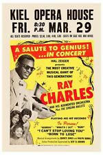 1960's R&B Soul: Ray Charles at  Kiel Opra House Concert Poster 1963