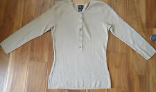 INC Gold Tan Light Brown Henley Pullover size M EUC!