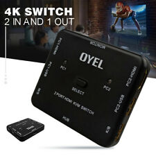 2 Ports USB HDMI KVM 4K Switcher Switch Box 2 In1 Out For Mouse Keyboard Monitor