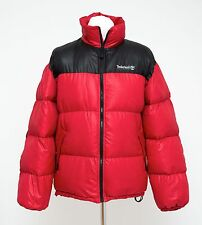 MENS TIMBERLAND PUFFA JACKET GOOSE DOWN PADDED RED SIZE M MEDIUM EXCELLENT