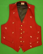 The Andover Shop Red Challis Vest w/ Embroidered Gamebirds & Silk Backing