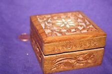 Vintage Antique Wooden Hand carved Sheesham Wood Trincket Box Made in India