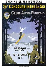 Affiche chemin de fer Orléans - Le Lioran 5è concours international de ski