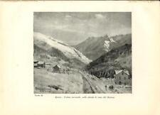 Stampa antica montagna APRICA e Monte BAITONE Valtellina Sondrio 1934 Old print