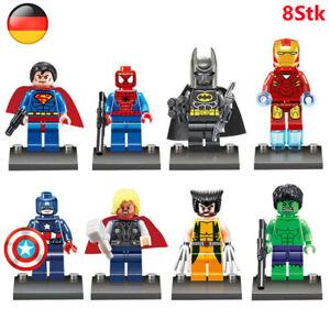 8 Stück Marvel Avengers Superheld Superman Batman Minifiguren Bausteine Spielzeu