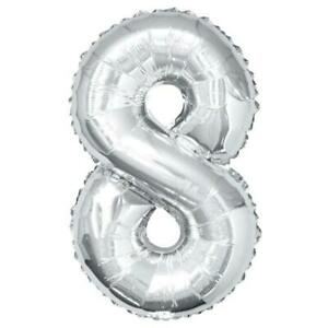 """Giant 34"""" Number 8 Silver Foil Helium Balloon"""