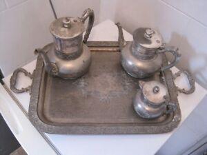 Circa 1900 Silver Plated Set , Handled Tray, Coffee Pot, Tea Pot, Milk Jug