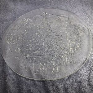 """Christmas Platter Clear Glass 12"""" Round Holiday Village Tree People Italian"""