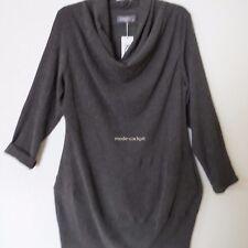 KEKOO süßes Lagenlook Crinkel Kurz Kleid Stretch Schalkragen anthrazit 44-46 (2)