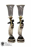 2 Blackamoor Nubian Cast Bronze Hurricane Candle Holders Torch Female Lantern