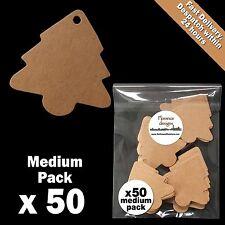 50 x Blank Buff/Manilla/Kraft/Brown Christmas Tree Tags/Label/Gift Tag Pack