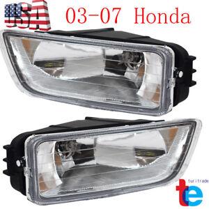 Pair Clear Bumper Driving Fog Light Kit For Honda Accord 4DR Sedan 2003-2007