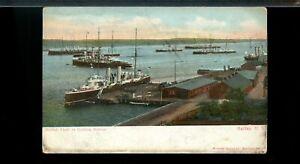 British Fleet in Halifax Harbour 1907   used post card Canada