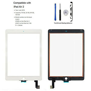 For iPad Air 2 A1566 A1567 Digitizer Touch Screen Replacement Kit White A+