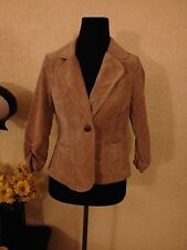 NWT Ashley by 26 International Tan Beige Corduroy Blazer Jacket Ruched Sleeves