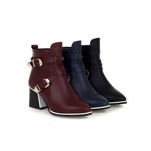 Womens Fashion Ankle Boots Block Mid Heel Booties Pointed Toe Side Zipper Shoes