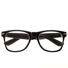 NEW BLACK FRAME RETRO Geek Nerd Non Prescription Clear Lens Eye Glasses w