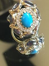 Arte d'Oro Genuine Turquoise, Iolite, and White Topaz Ring Solid 18K Gold 6.13g.