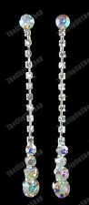 "CLIP ON screw 2.5""long RHINESTONE CRYSTAL drop EARRINGS diamante non-pierced"