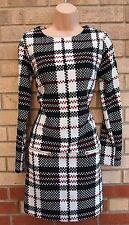 PRIMARK WHITE BLACK BURGUNDY CHECK TARTAN TUBE BODYCON FORMAL DRESS 8 S